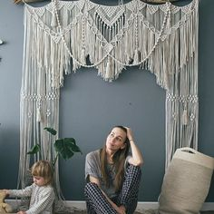 And I would drive her over the bed, and would sleep . Macrame Design, Macrame Art, Macrame Projects, Macrame Knots, Macrame Wall Hanging Patterns, Macrame Patterns, Macrame Curtain, Micro Macramé, Backdrops
