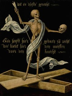 Netherlandish school, century, A skeleton standing on an open coffin holding a skull and an arrow, as an Allegory of Earthly Vanity and Divine Salvation, Memento Mori, Danse Macabre, Macabre Art, Vanitas, Dance Of Death, Jesus Christus, Skeleton Art, Renaissance Paintings, Dark Art