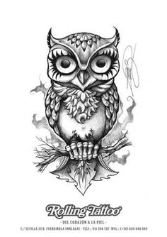 Image result for tattoo hibou dessin