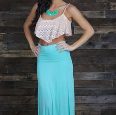 skirt maxi skirt crop tops bustier top cr necklace teal skirt hipster