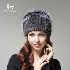 MOSNOW Women's Genuine Mink Fur Hat Female Winter Rex Rabbit Rose Flower Elegant Luxury 2016  Warm Knitted Hats Skullies Beanies