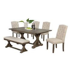 Looking for Clarissa 6 Piece Dining Set Gracie Oaks ? Check out our picks for the Clarissa 6 Piece Dining Set Gracie Oaks from the popular stores - all in one. Wood Table Bases, Solid Wood Table Tops, Solid Wood Dining Set, Table Seating, Dining Table, Dining Room, Kitchen Dining, 3 Piece Dining Set, Pub Table Sets