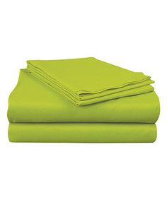 Love this Bright Lime Microfiber Sheet Set by Sam Salem & Son on #zulily! #zulilyfinds