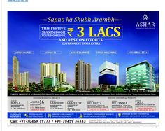 Check out our ad in Times Property This festive season book your home for Rs. 3 Lacs and rest on FITOUTS* Government Taxes Extra. www.ashar.in #AsharGroup #RealEstate #Thane #Media #Newspaper #Ad #TimesProperty