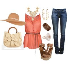this is so cute, but I would never wear the wedges or floppy hat even though their both really cute :)