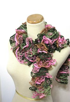 Hand Knit Ruffled Scarf  Pink Green Brown by ArlenesBoutique, $30.00