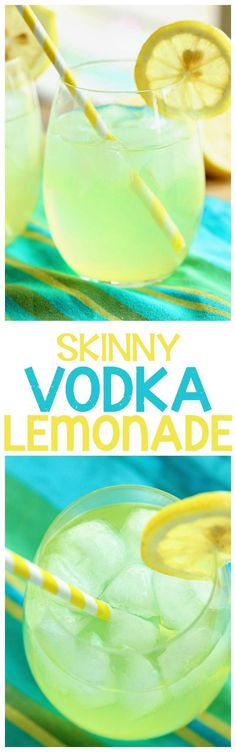 Skinny Vodka Lemonade - A perfect cocktail for summer that is lower in calories and perfect for the pool and the beach! (blue cocktail drinks)