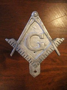 Antique Masonic License Plate. Pewter, square and compass Free and accepted   Mason's shield