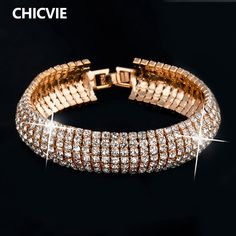 CHICVIE 925 Sterling Silver Jewelry Austrian Crystal Cuff Bracelets With Stones Love Bracelets & Bangles For Women Sbr140158