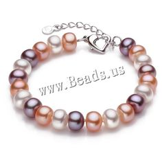 Freshwater Cultured Pearl Bracelet, Freshwater Pearl, brass lobster clasp, with 3cm extender chain, Dome, natural, different size for choice, multi-colored,china wholesale jewelry beads