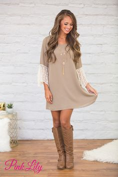 You're sure to feel beautiful in this stunning dress! Featuring soft mocha material paired with bell sleeves and the sweetest cream lace, it's such an elegant and sophisticated look!