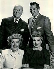 The Ricardo's and Mertz's from left, standing: William Frawley (Fred), Desi Arnaz (Ricky), seated: Vivian Vance (Ethel) and Lucille Ball (Lucy).