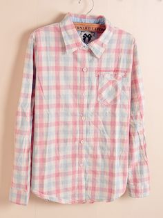 Womens Pink-Blue Plaid Blouse