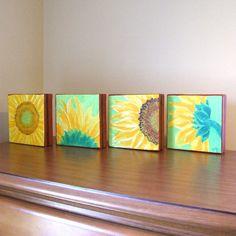 Original Painting SUNFLOWERS Four 6x6 acrylic canvas por nJoyArt