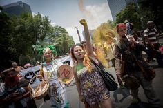 Protestan contra Monsanto y el maíz transgénico en el DF. Foto: Xinhua / Pedro Mera