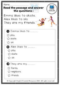 Grammar Skills, Writing Skills, Free Reading Comprehension Worksheets, English Resources, Kindergarten Reading, Learning Tools, Printable Worksheets, Cool Websites, Student