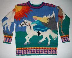 Nine/Ten Year Horses Sweater by amarinalevin on Etsy. $140.00, via Etsy.