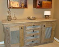 Rustic hall table with corrugated metal