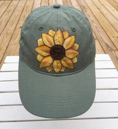 Items similar to Sunflower Hat, Sage Green Cap, Authentic Pigment, Hand Painted, Women's Hat on Etsy Painted Hats, Painted Clothes, Sun Visor Hat, Visor Hats, Hat Decoration, Hat Day, Sunflower Shirt, Punch Needle Patterns, Textiles