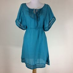 Anthropologie HD in Paris Womens Size 4 Blouse Tunic Blue Crochet Gauzy Top  #AnthropologieHDinParis #Tunic