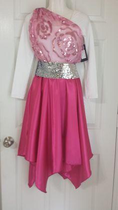 Complete set  white leotard, flower overlay, 4 inch belt, hankie satin skirt.