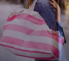 NWT Victoria's Secret Pink and White Stripe Getaway Weekender Tote Bag   eBay