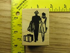 BACK OF MAN & WOMAN TRAVELING BY TOYBOX LUGGAGE VINTAGE Rubber Stamp #1745 in Stamps | eBay