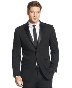 Perry Ellis Black Solid Slim-Fit Tuxedo - Suits & Suit Separates - Men - Macy's