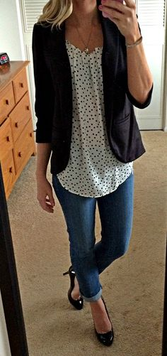 Polka dots with black blazer, cuffed jeans - cute but I would not wear the heals. Would have to swap for a cute flat.