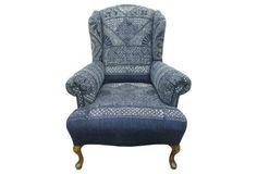 Indigo Batik Wingback Chair