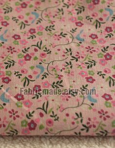 """JAPANESE Floral fabric, Linen Cotton Fabric, Vintage Style, Spring floral and birds- Fabric by yard 1/2 yard 18'X61"""". $7.90, via Etsy."""
