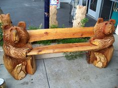 "Chainsaw Carved Wood Benches | 7ft ""Oiled"" Bear Bench with Table"