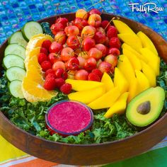 FullyRaw   -  This lifestyle is not about being perfect, this lifestyle is NOT a diet. It's not about winning or losing. It's about finding what works for you, eating the raw foods that you love, and celebrating your body! ~ Tonight's salad is mixed greens topped with cherries, raspberries, mango, cucumber, orange, and avocado with a cherry mango beet dressing! It's perfection! ~ Kristina Carrillo-Bucaram Rawfully Organic Co-op www.instagram.com/fullyrawkristina