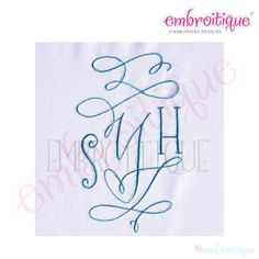 All Products - Courtly Calligraphy Stunning Ornamental Monogram Set on sale now at Embroitique!