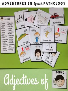 Adjectives of sound are just one of the ten categories of cards and word banks to help develop and support language skills for receptive, expressive and writing skills.