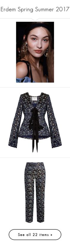 """Erdem Spring Summer 2017"" by enam ❤ liked on Polyvore featuring logo, erdem, outerwear, jackets, navy print, jacquard jacket, navy jacket, floral jacket, floral print jacket and print jacket"