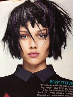 A Short Black straight messy choppy defined-fringe coloured multi-tonal bob womens haircut hairstyle by Angelo Seminara Choppy Bob Hairstyles, Hairstyles With Bangs, Straight Hairstyles, Lob Hairstyle, Black Hairstyles, Emo Girl Hairstyles, Angelo Seminara, Medium Hair Styles, Short Hair Styles