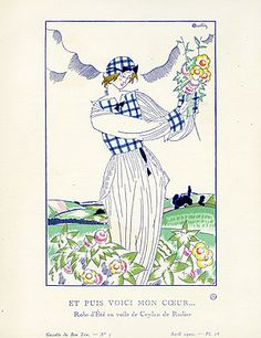 Gazette du Bon Ton Antique Fashion Prints 1912-1913 - Et Puis Voici mon Coeur … by Charles Martin BTG28 Reg. Price: $125 Sale Price: $85