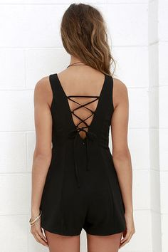 First Place Prize Black Lace-Up Romper at Lulus.com!