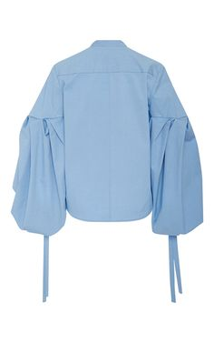 This **Hellessy** Sky Blue Leandro Blouse is crafted of stretch cotton faille, features a collarless design, and large balloon sleeves. Fashion Capsule, Fashion Outfits, Kurti Embroidery Design, Sleeves Designs For Dresses, Cute Fall Outfits, Fashion Sewing, Muslim Fashion, Street Style Women, Clothing Patterns