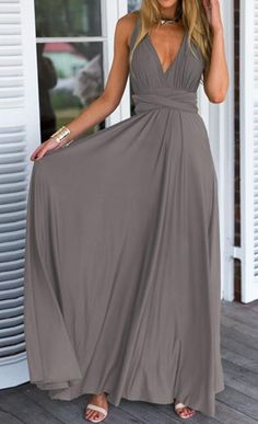 Solid color maxi dress with a beautiful cut/fit on top ... Can dress up or down. http://fancytemplestore.com #womenscardigan #womensouterwear #womensjacket #scarves #scarf #fashion