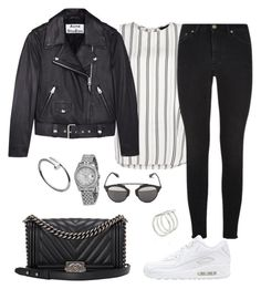 """""""Outfit #385"""" by valeriatrav ❤ liked on Polyvore featuring Yves Saint Laurent, Acne Studios, NIKE, Chanel, Christian Dior, Rolex, Cartier and Smith/Grey"""