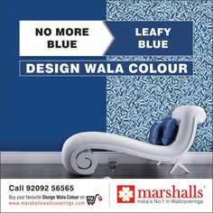 Say NO to that dull Blue painted wall when you can get this exquisite Leafy Blue wallcovering #OnlyWithMarshalls!  Explore more on www.marshallswallcoverings.com #DesignWalaColour #Wallpapers #Wallcoverings #Walldecor #Homedecor #homes #offices #homeinteriors #officeinteriors #walls.