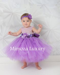 Purple Flower girl dress purple tutu dress by MimozaLuxury on Etsy