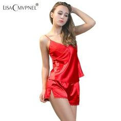 PIJAMA Nuevo V-cuello rayón de seda ropa de dormir de encaje correa de espagueti de las mujeres conjunto de pijama sexy