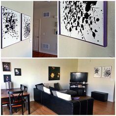 Modern ink splatter wall art. Splatter canvas with black paint. Add a little water to some of the paint for variations in the splatter. Dry overnight.