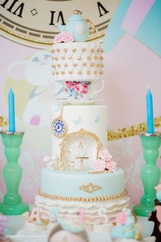 Alice in Wonderland Cake from a Pastel Glam Alice in Wonderland Birthday Party on Kara's Party Ideas | KarasPartyIdeas.com (7)