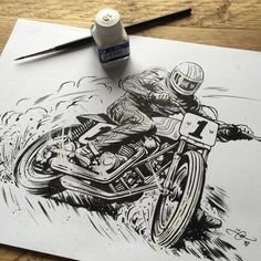 "caferacersofinstagram: ""Moto art for #TrackerTuesday featuring @adi_gilbert. Cheers! """