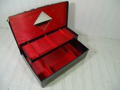 Vintage Black Leatherette Lift Top Jewelry Box by DivineOrders, $24.00