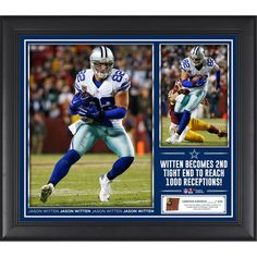 Jason Witten Dallas Cowboys Fanatics Authentic 15'' x 17'' 1000 Receptions Collage with a Piece of Game-Used Football - Limited Edition of 250 - $89.99